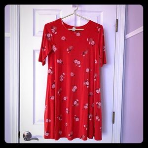 Old navy red dress with white flowers